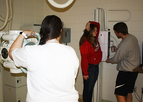 Northwest Iowa Community College students getting hands-on instruction with X Ray equipment in the Radiologic Technology class. <br>