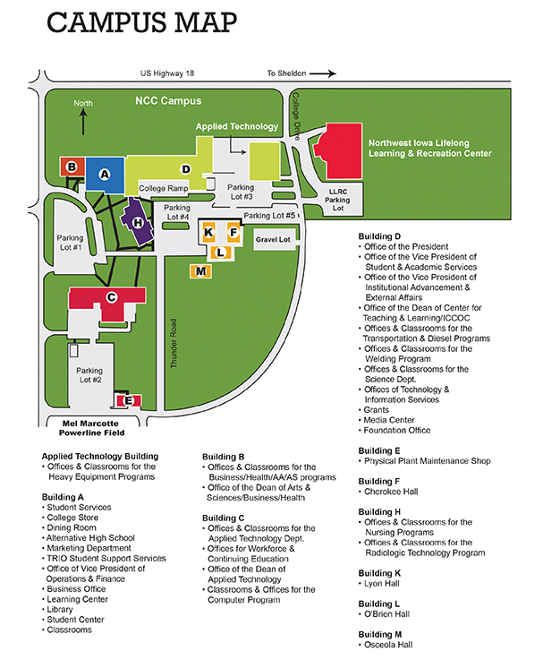 map of ncc campus Ncc Northwest Iowa Community College Sheldon Iowa Nwicc map of ncc campus